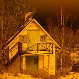 Odd night by Jakob  Kobryn  - Buildings & Architecture Other Exteriors ( lightening, cottage, dark, woods, night shot )