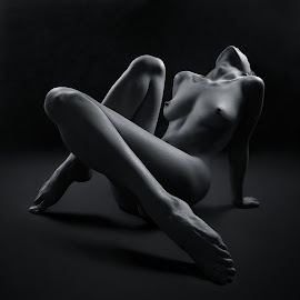Moongirl by Maxim Malevich - Nudes & Boudoir Artistic Nude ( breast, erotic, body, nude, black and white, female, woman )
