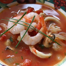 Tomato and Garlic Stew With Prawns.
