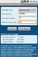 Screenshot of Easy Mortgage Calculator