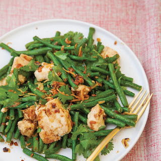 Tofu, Long Bean, and Crispy Shallot Salad with Black Bean Vinaigrette