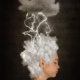 Brainstorming  by Chrystal Olivero - Digital Art Abstract ( music, clouds, fine art, storm, conceptual, manipulation, portrait )