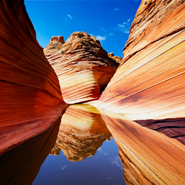 The Wave by Francesco Riccardo Iacomino - Nature Up Close Rock & Stone ( curve, explorations, coyote buttes, jurassic-age navajo sandstone, reflection, dunes, erosion, stone, rock, calcifying, remote, landscape, colorado plateau, hiking, exploring, navajo, paria canyon-vermilion cliffs wilderness, jurassic, nature, grand, arizona, wonder, southwest, sandstonec, rock formation, alone, water, orange, wild, sand, undulating, desert, the wave, cnyon-vermilion, canyon, unknown, paria, reflecting, amazing, wilderness, ridges, lines, square, landscapes, natural, small ridges )