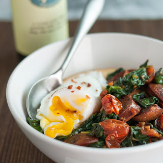 Polenta Bowl with Garlicky Spinach, Chicken Sausage & Poached Egg