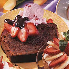 Chocolate Pound Cake with Strawberry Ice Cream and Bittersweet Chocolate Sauce