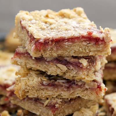 Raspberry Coconut Oat Bars