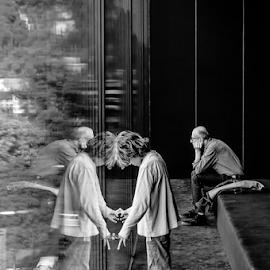 Parallel World! by Jesus Giraldo - People Street & Candids ( concept, reflection, window, art, beauty, man, kid )