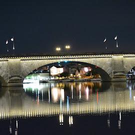 London Bridge at Night by Kaitlin Williamsen - Buildings & Architecture Bridges & Suspended Structures ( lights, reflection, dark, night, bridge )