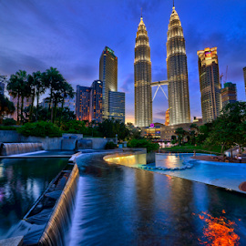 Sunset at KLCC Park by Nur Ismail Mohammed - City,  Street & Park  Skylines ( mirror, klcc, reflection, hdr, sunset, blue hour, twin towers )