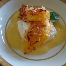 Coconut Crusted Mango Slices with Pineapple Sauce and Whipped Coconut ...