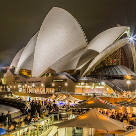 Opera house by Leon Chester - Buildings & Architecture Public & Historical ( night photography, night scene, australia, sydney opera house, night, street scene, cityscape, sydney, nightscape, city )
