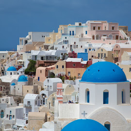 Santorini by Chanin Green - Buildings & Architecture Homes ( 2013, blue, greece, buildings, travel, landscape, santorini )