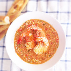 Gazpacho with Aleppo Pepper Roasted Gulf Shrimp