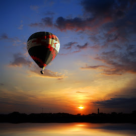 airship by Indra Prihantoro - Transportation Other ( airship, sunset, sunrise,  )