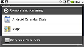 Screenshot of Android Calendar Dialer