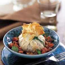Shrimp Phyllo Purses with Tomato Chermoula Sauce