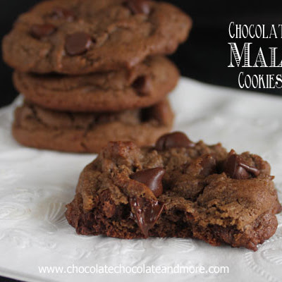 Chocolate Malt Cookies with Chocolate Chips