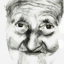 Old Woman Portrait by Daliana Pacuraru - Drawing All Drawing ( face, old, woman, mono, black, portrait, drawing )