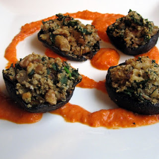 Vegan Stuffed Portobello Mushrooms w/ Roasted Red Pepper Coulis
