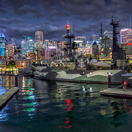 Darling Harbor Sydney by Loredana  Smith - Buildings & Architecture Bridges & Suspended Structures ( water, lights, building, ship, sea, night, sydney, city )