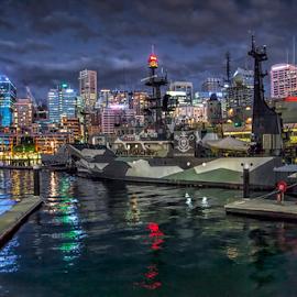 Darling Harbor Sydney by Loredana  Smith - City,  Street & Park  Skylines ( water, lights, building, ship, sea, night, sydney, city )