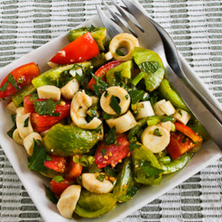 Colorful Tomato Salad with Hearts of Palm, Mint, and Spicy Thai Dressing