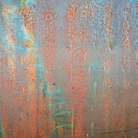 Rusted Writing by Brandie Stordahl - Abstract Patterns ( up close, orange, vintage, blue, writing, old building, rust, orange. color )