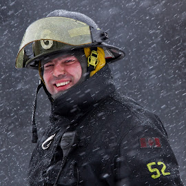 Fireman by Roland Fortier - People Professional People ( fireman, professional, people, portrait,  )