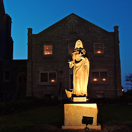 Standing Vigil by T. Rick Jones - Buildings & Architecture Places of Worship ( lights, church, night, vigil, mary )