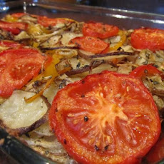 Potato Gratin With Peppers, Onions and Tomatoes