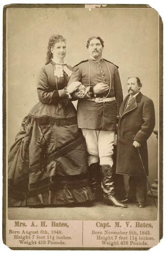 Anna Swan, husband M.V. Bates, and normal sized man, ca. 1872