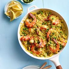 Indian Spiced Rice with Shrimp and Peas