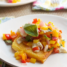 Polenta Steaks with Multi-Colored Peppers, Red Onions & Smoked Mozzarella