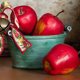Forbiden Fruit by Rosemary Jardine - Artistic Objects Still Life ( bell, red, green, still life, christmas, apples )