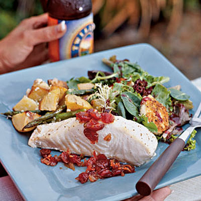 Oven-roasted Halibut with Cranberry Chutney