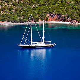 Sailboat anchored in Kefalonia island,Greece by Giannis Paraschou - Transportation Boats ( sailboat anchored, kefalonia greece, sailboat anchored in kefalonia island greece )