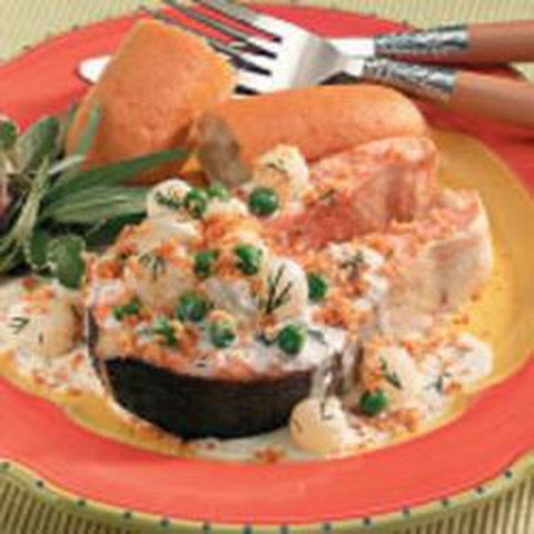 Salmon Steaks With Veggie Cream Sauce