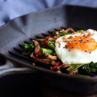 Lime and Coriander Sticky Beef Hash with Sunny Side Egg