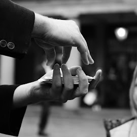 by Tom O Neill - People Musicians & Entertainers ( covent garden, magic, london, black and white, street, street magician, magician )