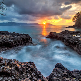 Sunrise Padang Bai by Ivan Theo - Landscapes Sunsets & Sunrises ( water, mountain, tree, sea, sunrise )