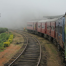 #mist #train #journey #memories #srilanka. by Saleena Salim - Transportation Trains ( selective color, pwc )