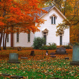 Old Church Cemetery by James Kirk - City,  Street & Park  Cemeteries ( old, church, fall, cemetery, headstones, autumn colors )