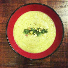 Summer Squash Bisque with Carrot Top Pesto and Pistachios