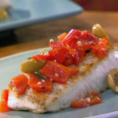 Halibut with Anchovy-Stuffed Olives, Red Peppers and Oregano