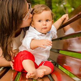 precious by Adrian Podaru - People Family ( baby portrait, mother, mommy, park bench, baby boy )