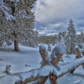 Split Fence and Snow, Topaz Glow.JPG