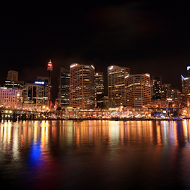 Darling Harbour by Sudeep Dhonde - City,  Street & Park  Skylines ( darling harbour, night photography, night, sydney, nightscape, city )