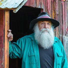 Anthony by Richard Duerksen - People Portraits of Men ( oregon, cowboy, anthony, sunny valley, old barn, portrait, man )