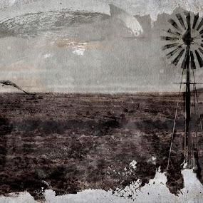 East Cape WIndmills by AZilba Fotografika - Landscapes Prairies, Meadows & Fields ( alternative photography, east cape, south africa, gum print, windmills, landscape, color, colors, portrait, object, filter forge )