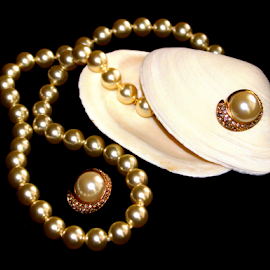 Treasures from the sea... by Elfie Back - Artistic Objects Jewelry ( shells, pearls, jewelry, necklace, earrings,  )
